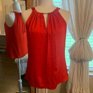 The Limited Silk Red halter with gem neck